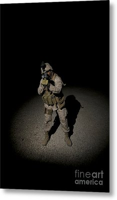 Portrait Of A U.s. Marine Metal Print by Terry Moore