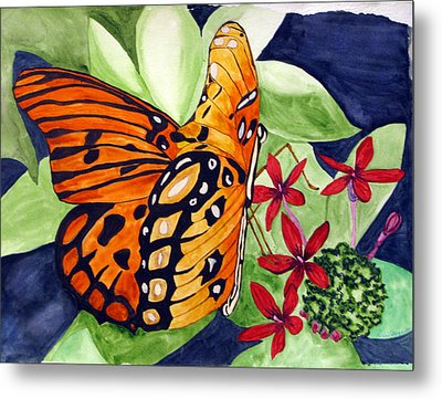 Metal Print featuring the painting Precocious Butterfly by Debi Singer