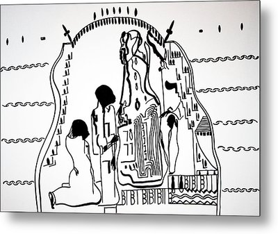 Metal Print featuring the drawing Presentation Of Jesus In The Temple by Gloria Ssali