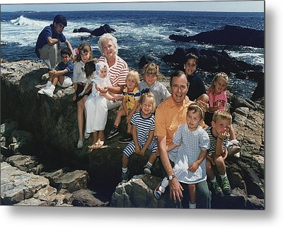 President George H. W. Bush And Wife Metal Print by Everett