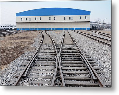 Railway Shed And Sidings. Bright Blue Metal Print by Guang Ho Zhu