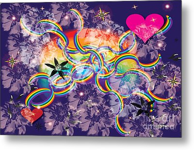Metal Print featuring the digital art Rainbow Space by Kim Prowse