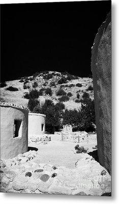 reconstruction of Choirokoitia ancient neolithic village settlement republic of cyprus Metal Print by Joe Fox