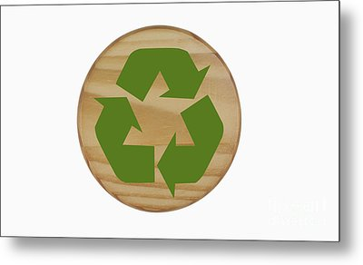 Recycling Symbol On Wood Metal Print by Blink Images