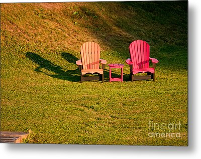 Metal Print featuring the photograph Red And Orange Chairs by Les Palenik