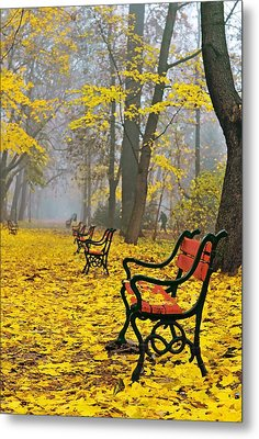 Red Benches In The Park Metal Print