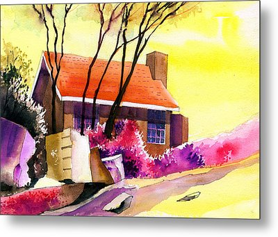 Red House Metal Print by Anil Nene