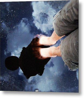 Reflection Of Boy In A Puddle Of Water Metal Print