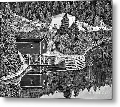 Reflections B W Metal Print by Barbara Griffin