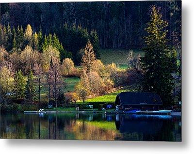 Reflex On Fushl Lake Salzburg Austria Metal Print by Arthit Somsakul