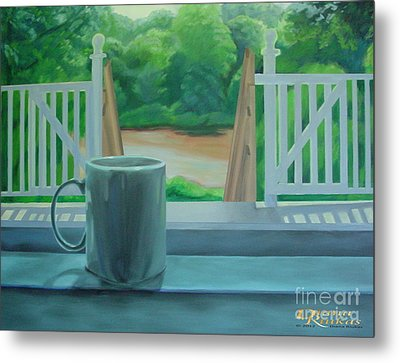 Metal Print featuring the painting Relaxing By Cooper River by Diana Riukas