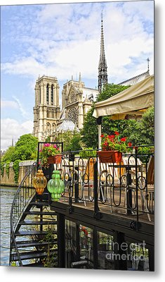 Restaurant On Seine Metal Print by Elena Elisseeva
