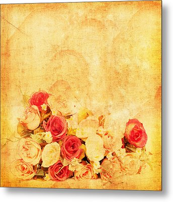 Retro Flower Pattern Metal Print by Setsiri Silapasuwanchai