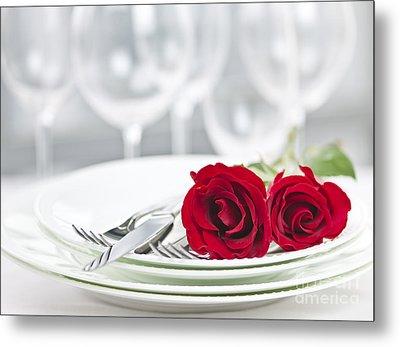 Romantic Dinner Setting Metal Print by Elena Elisseeva