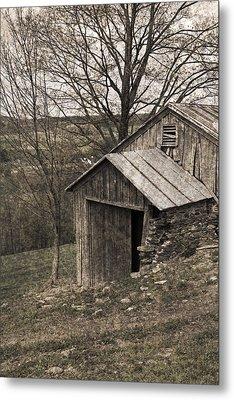 Rustic Hillside Barn Pasture Metal Print by John Stephens