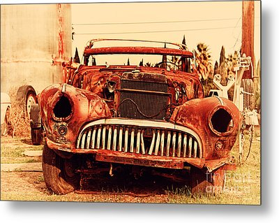 Rusty Old American Car . 7d10343 Metal Print by Wingsdomain Art and Photography