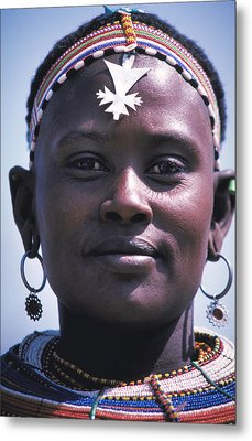 Samburu Maiden In Kenya Metal Print by Carl Purcell