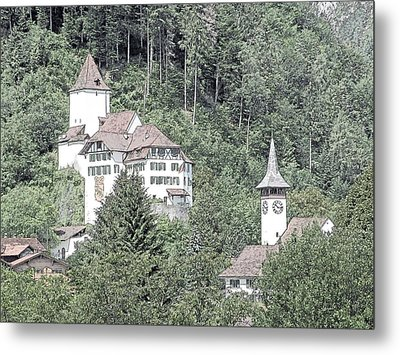 Schloss Wimmis And Church Switzerland Metal Print by Joseph Hendrix