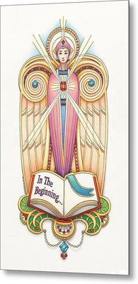 Scroll Angel - Ionica Metal Print by Amy S Turner
