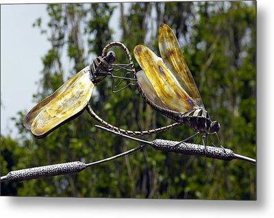 Sculpture Of Two Dragonflies Metal Print