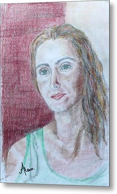 Metal Print featuring the drawing Self Portrait by Anna Ruzsan