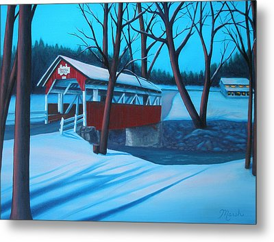 Shaffer's Covered Bridge 1877 Metal Print by Lora Marsh