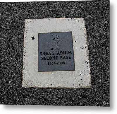 Shea Stadium Second Base Metal Print by Rob Hans