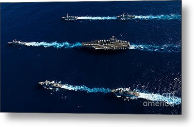 Ships From The John C. Stennis Carrier Metal Print by Stocktrek Images