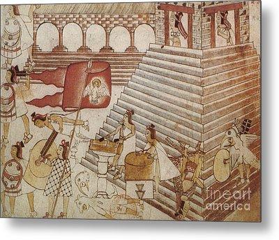 Siege Of Tenochtitlan 1521 Metal Print by Photo Researchers