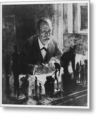 Sigmund Freud, Austrian Psychologist Metal Print by Humanities & Social Sciences Librarynew York Public Library