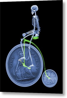Skeleton On A Penny Farthing Metal Print by D. Roberts
