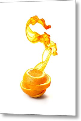 Sliced Orange With Ink Suspended Metal Print by Multi-bits