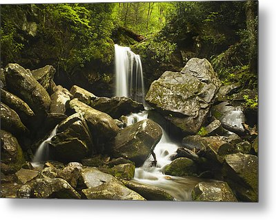 Smoky Mountain Waterfall Metal Print by Andrew Soundarajan