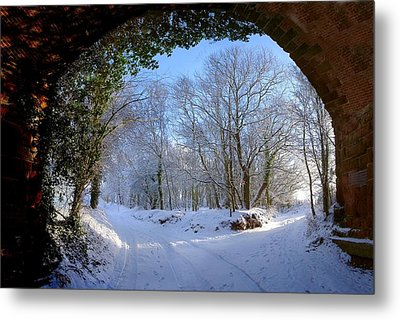 Snow Through The Bridge Metal Print