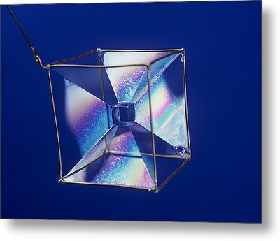 Soap Films On A Cube Metal Print by Andrew Lambert Photography