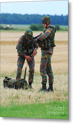 Soldiers Of The Belgian Army Metal Print by Luc De Jaeger