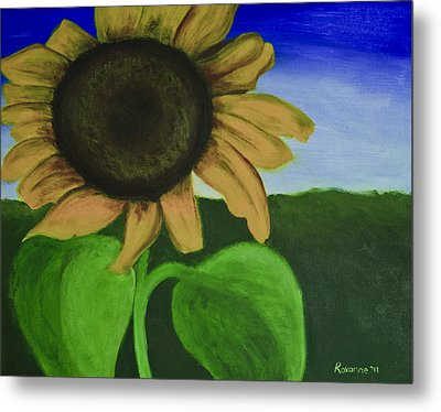 Solo Sunflower Metal Print by Roxanne Weber