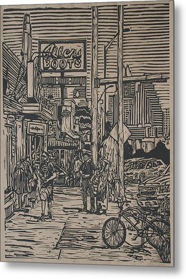 Metal Print featuring the drawing South Congress by William Cauthern