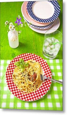 Spaghetti Al Pesto Metal Print