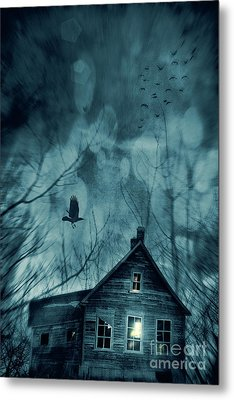 Spooky House At Sunset  Metal Print by Sandra Cunningham