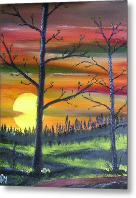 Metal Print featuring the painting Spring Sunrise by Charles and Melisa Morrison