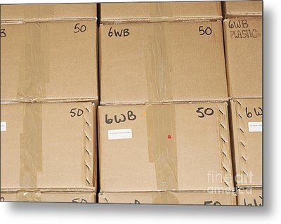 Stacks Of Boxes Metal Print by Shannon Fagan