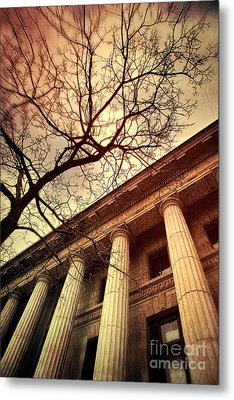 Stark Facade Of Justice Courthouse From Low Angel View  Metal Print by Sandra Cunningham