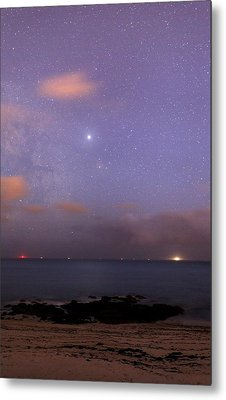 Stars And Jupiter In A Night Sky Metal Print by Laurent Laveder