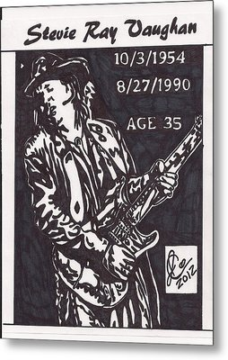 Metal Print featuring the drawing Stevie Ray Vaughn by Jeremiah Colley