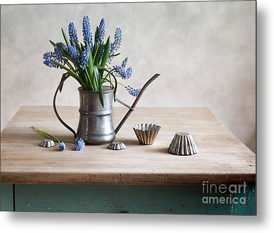 Still Life With Grape Hyacinths Metal Print