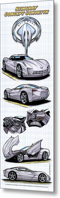 Metal Print featuring the drawing Stingray Concept Corvette by K Scott Teeters