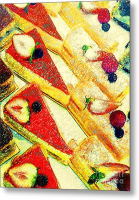 Strawberry Cakes Metal Print by Wingsdomain Art and Photography
