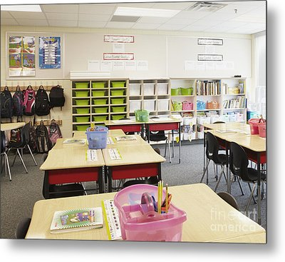 Student Desks In Classroom Metal Print by Skip Nall