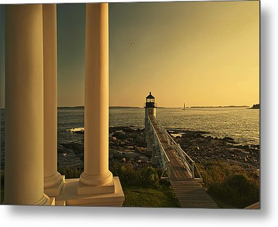 Sunset At Marshall Point Light Metal Print